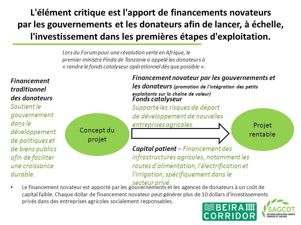 L élément critique est l apport de financements novateurs par les gouvernements et les donateurs afin de lancer, à échelle, l investissement dans les premières étapes d exploitation.