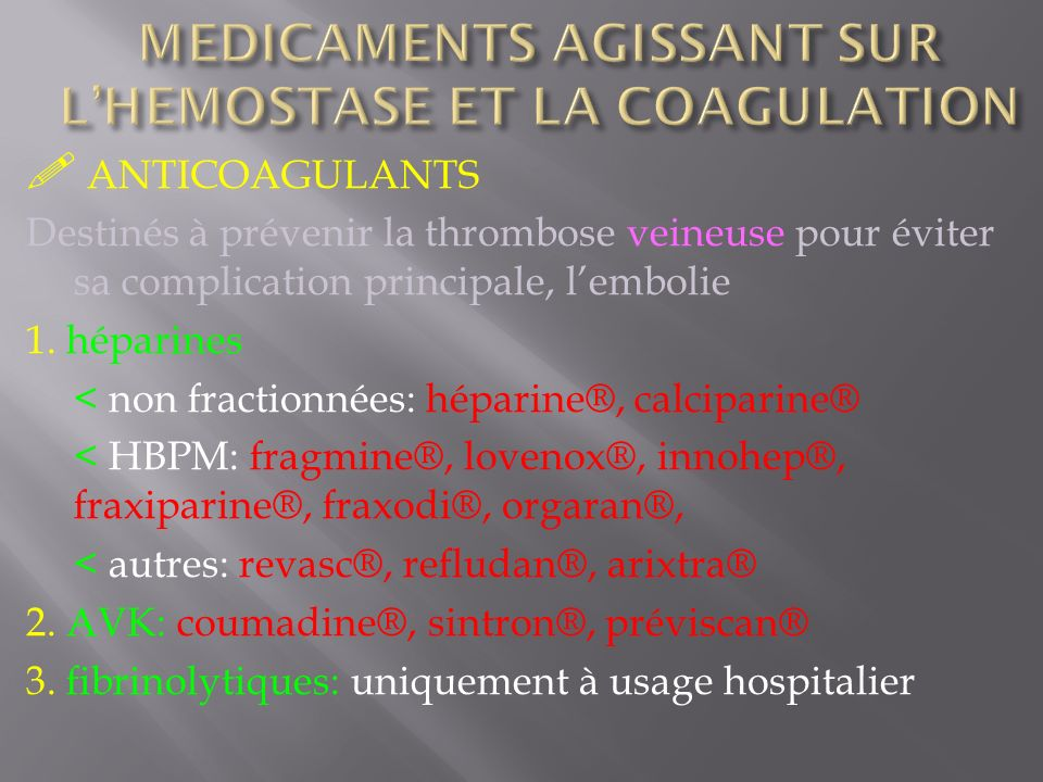 MEDICAMENTS AGISSANT SUR L'HEMOSTASE ET LA COAGULATION