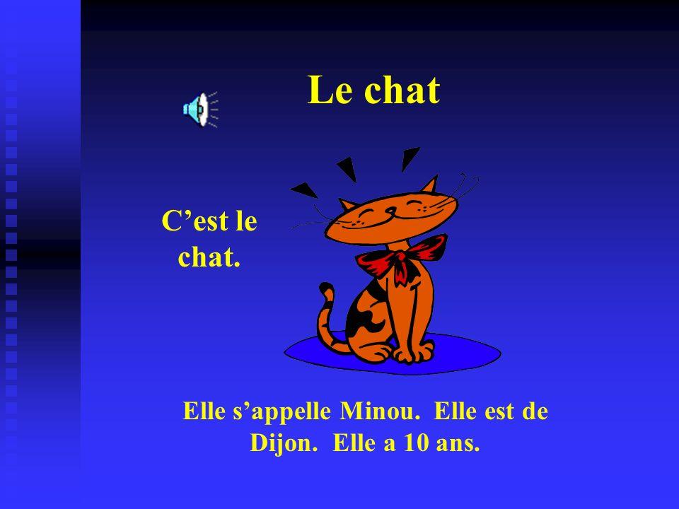 Elle s'appelle Minou. Elle est de Dijon. Elle a 10 ans.