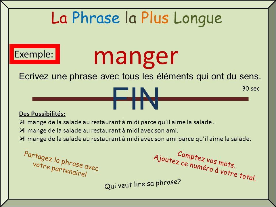 FIN manger La Phrase la Plus Longue Exemple: