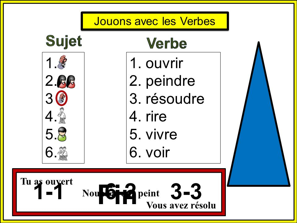 Fin 1-1 6-2 3-3 Sujet Verbe 1. 2. 3. 4. 5. 6. 1. ouvrir 2. peindre