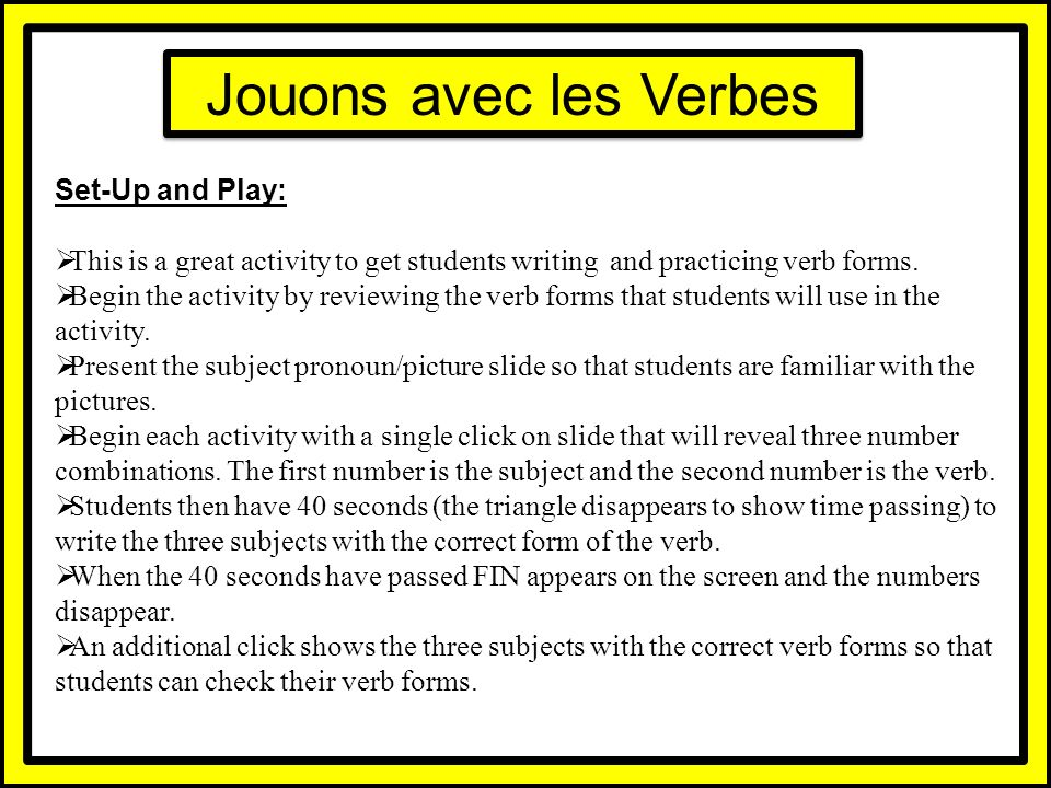 Jouons avec les Verbes Set-Up and Play: