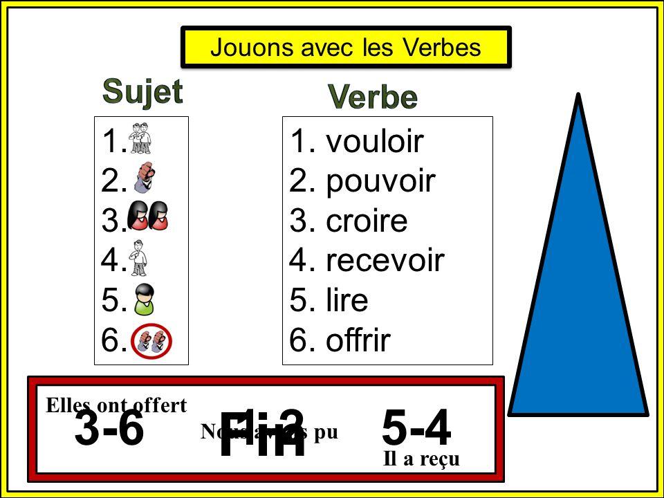 Fin 3-6 1-2 5-4 Sujet Verbe 1. 2. 3. 4. 5. 6. 1. vouloir 2. pouvoir