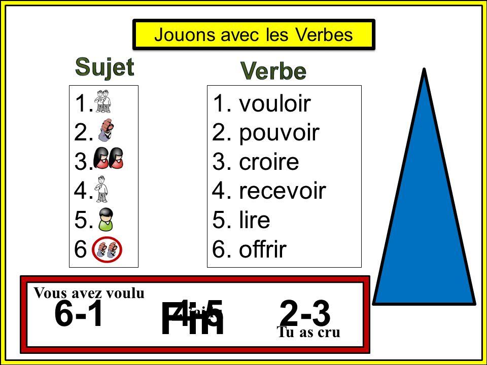 Fin 6-1 4-5 2-3 Sujet Verbe 1. 2. 3. 4. 5. 6. 1. vouloir 2. pouvoir