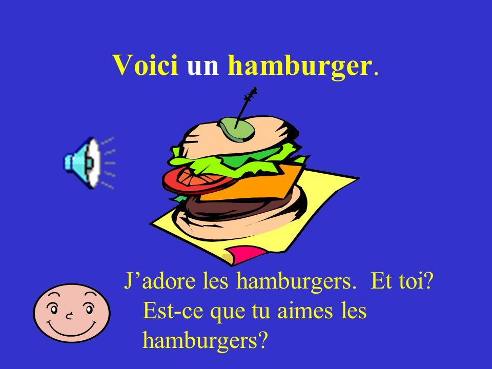Voici un hamburger. J'adore les hamburgers. Et toi Est-ce que tu aimes les hamburgers