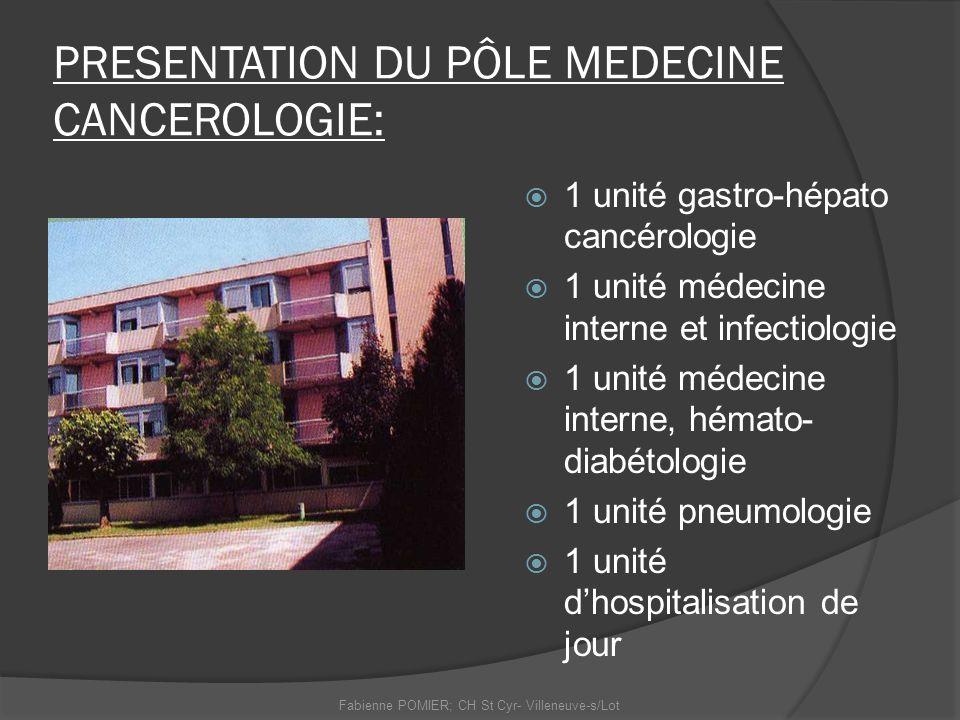 PRESENTATION DU PÔLE MEDECINE CANCEROLOGIE: