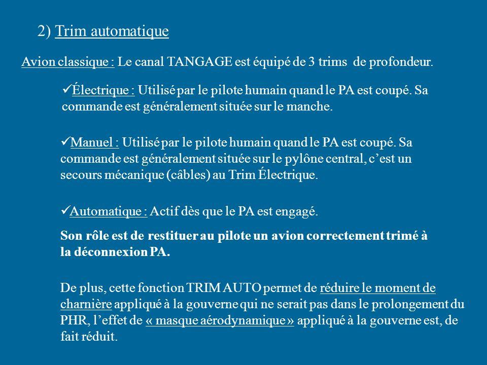 2) Trim automatique Avion classique : Le canal TANGAGE est équipé de 3 trims de profondeur.