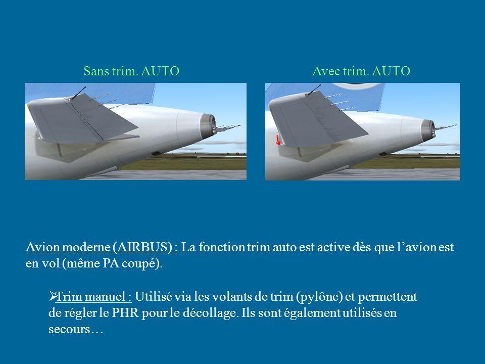 Sans trim. AUTO Avec trim. AUTO. Avion moderne (AIRBUS) : La fonction trim auto est active dès que l'avion est en vol (même PA coupé).