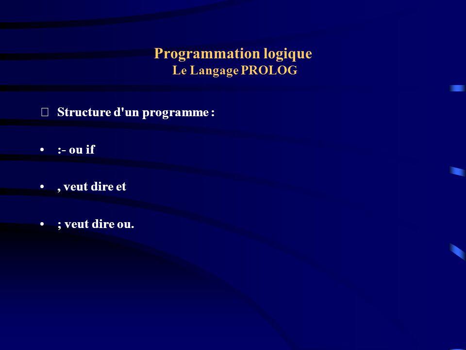 Programmation logique Le Langage PROLOG