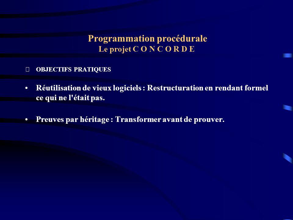 Programmation procédurale Le projet C O N C O R D E