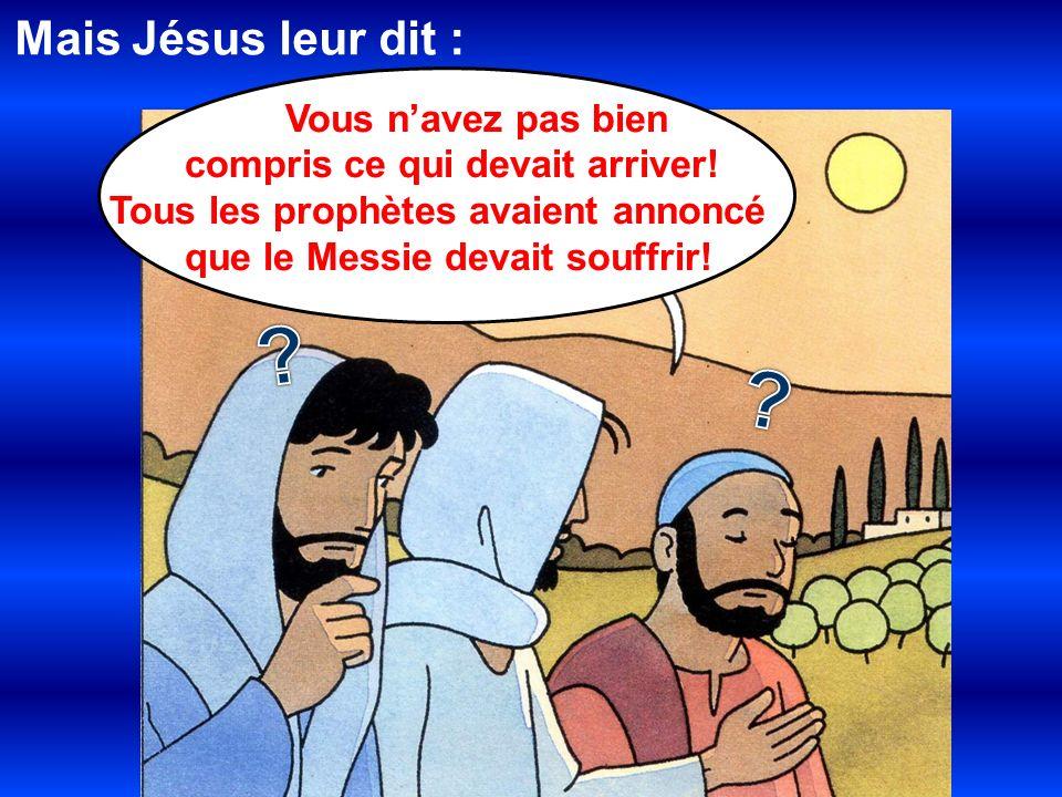 Mais Jésus leur dit : compris ce qui devait arriver!