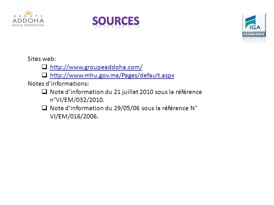sources Sites web: http://www.groupeaddoha.com/
