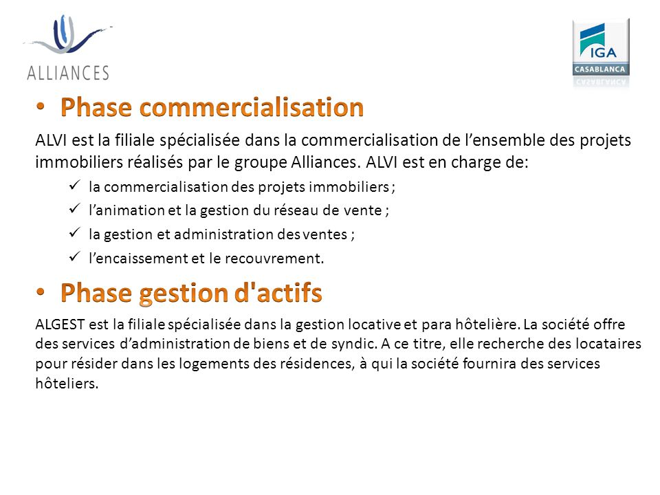 Phase commercialisation