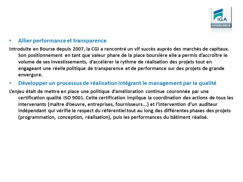 Allier performance et transparence