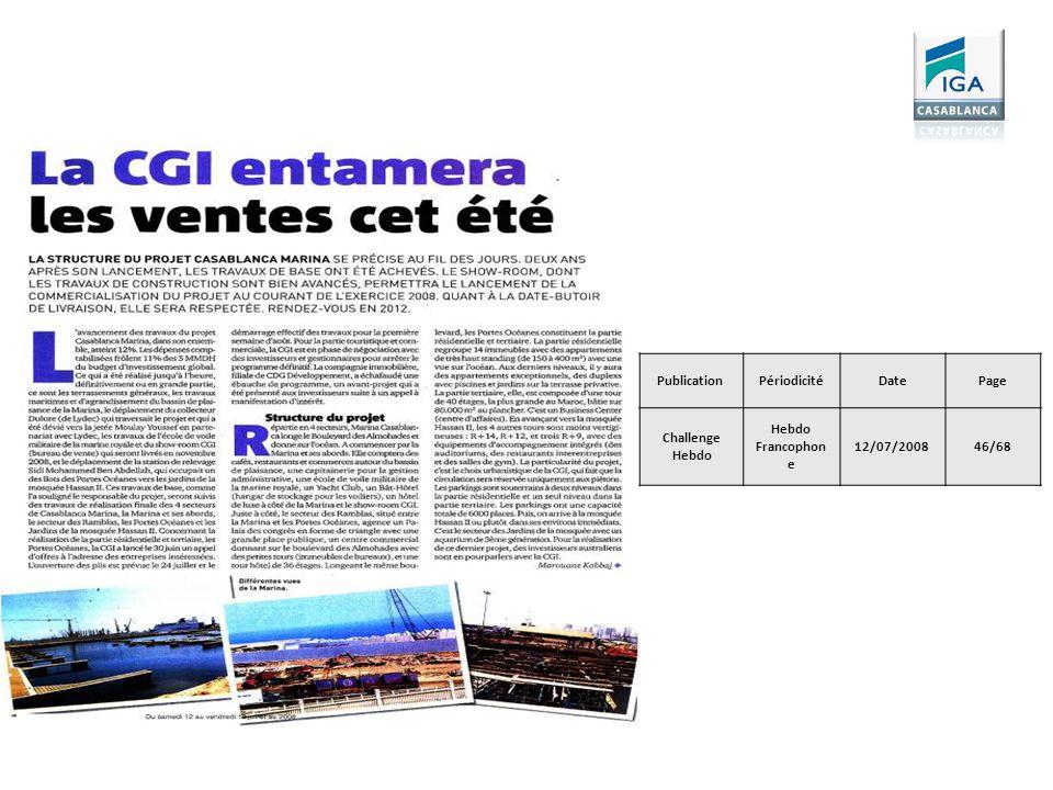 Publication Périodicité Date Page Challenge Hebdo Hebdo Francophone 12/07/2008 46/68