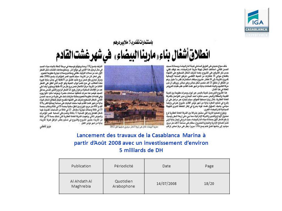 Lancement des travaux de la Casablanca Marina à partir d'Août 2008 avec un investissement d'environ 5 milliards de DH