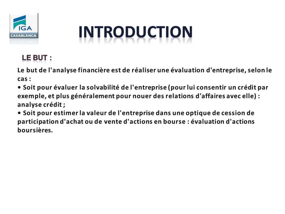 INTRODUCTION Le but : Le but de l analyse financière est de réaliser une évaluation d entreprise, selon le cas :