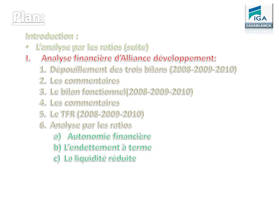 Plan: Introduction : L'analyse par les ratios (suite)