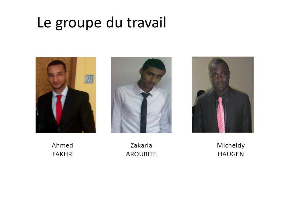 Le groupe du travail Ahmed FAKHRI Zakaria AROUBITE Micheldy HAUGEN