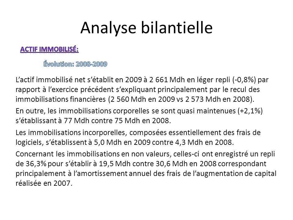 Analyse bilantielle Actif immobilisé: Évolution: 2008-2009.