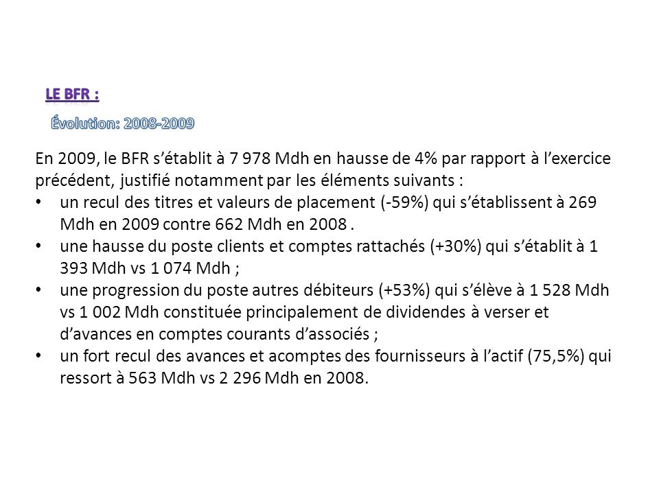 Le BFR : Évolution: 2008-2009.