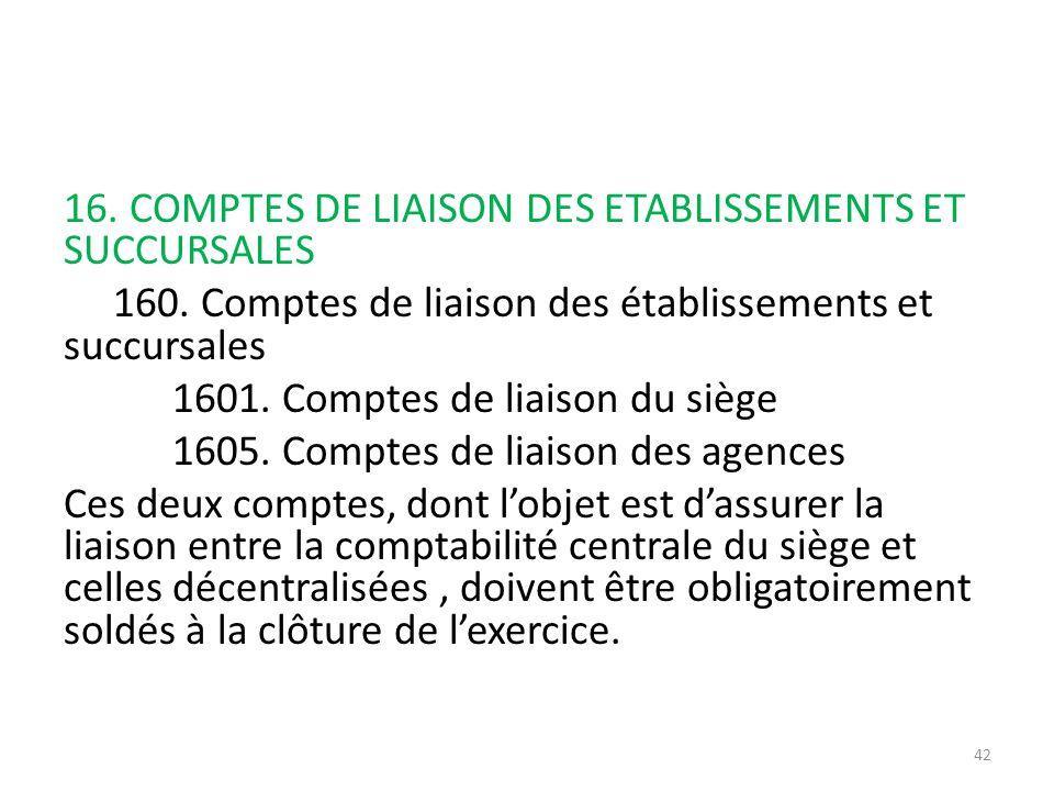 16. COMPTES DE LIAISON DES ETABLISSEMENTS ET SUCCURSALES 160