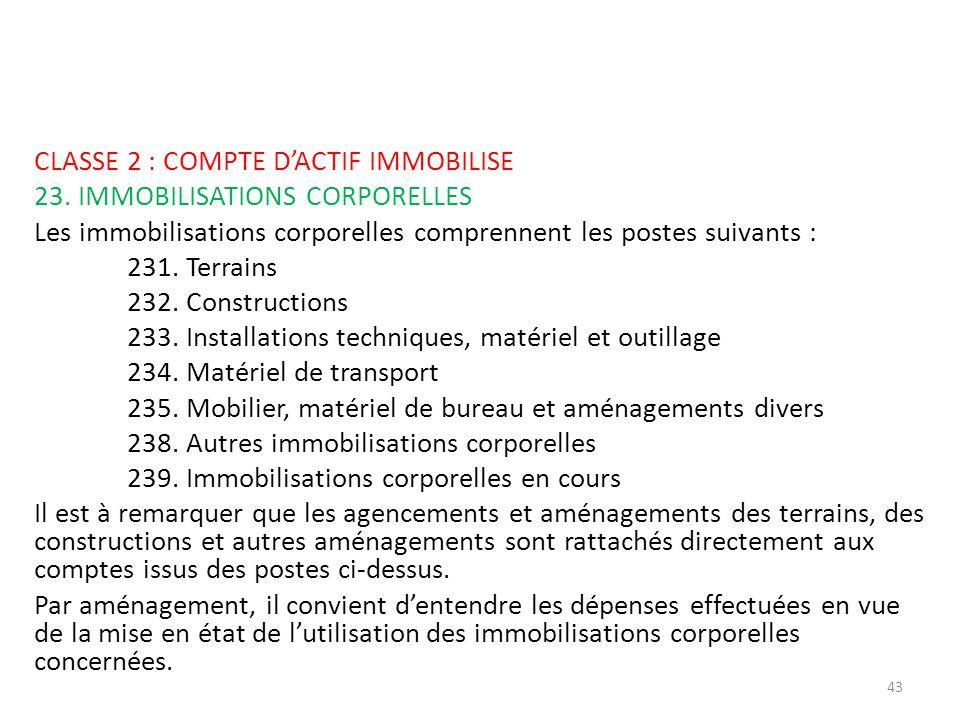 CLASSE 2 : COMPTE D'ACTIF IMMOBILISE 23
