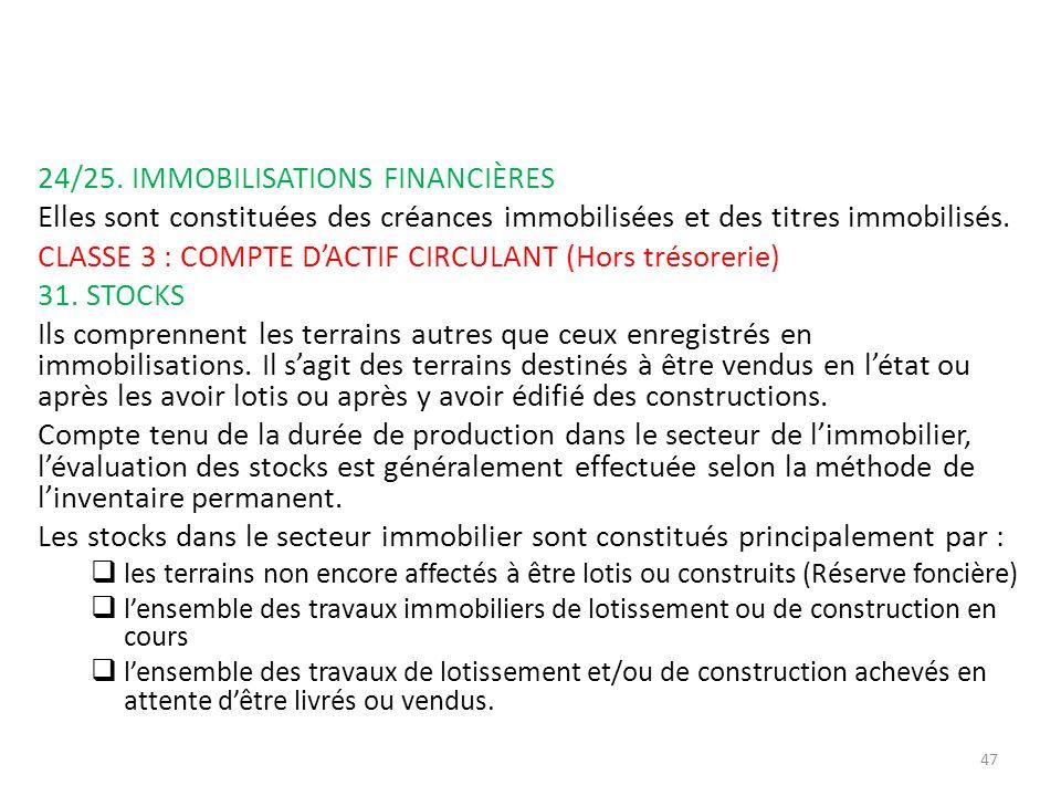 24/25. IMMOBILISATIONS FINANCIÈRES