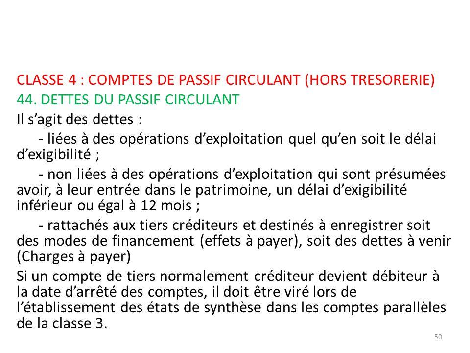 CLASSE 4 : COMPTES DE PASSIF CIRCULANT (HORS TRESORERIE) 44