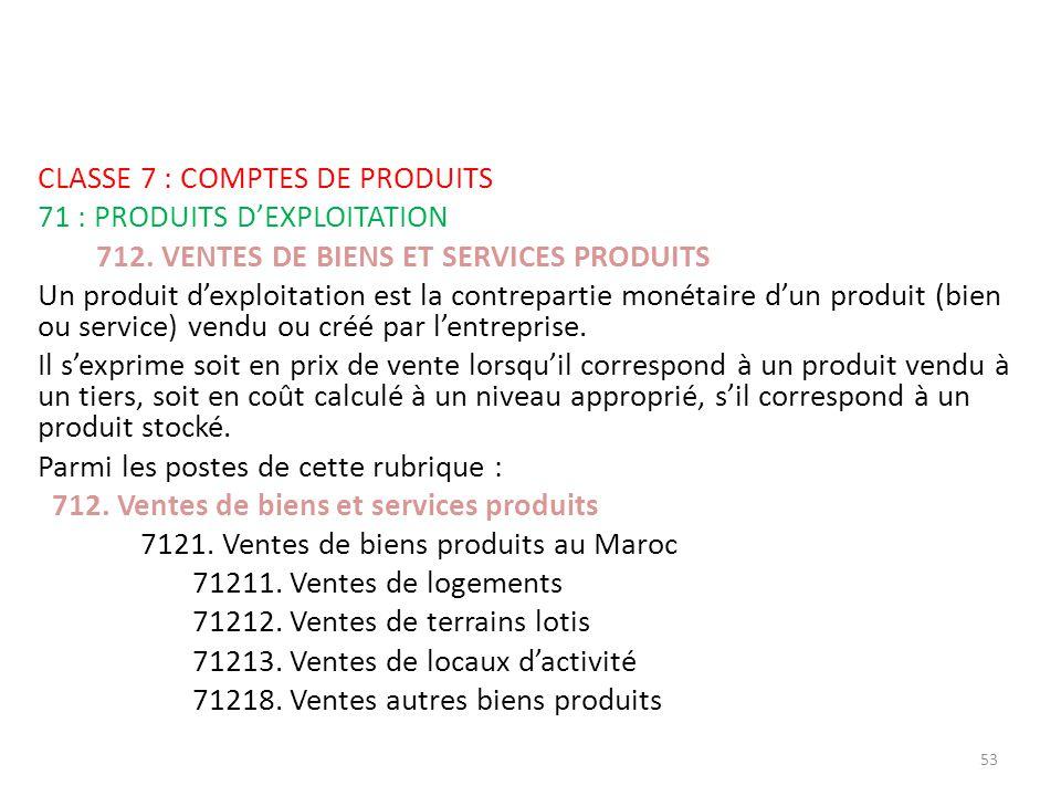 CLASSE 7 : COMPTES DE PRODUITS 71 : PRODUITS D'EXPLOITATION 712