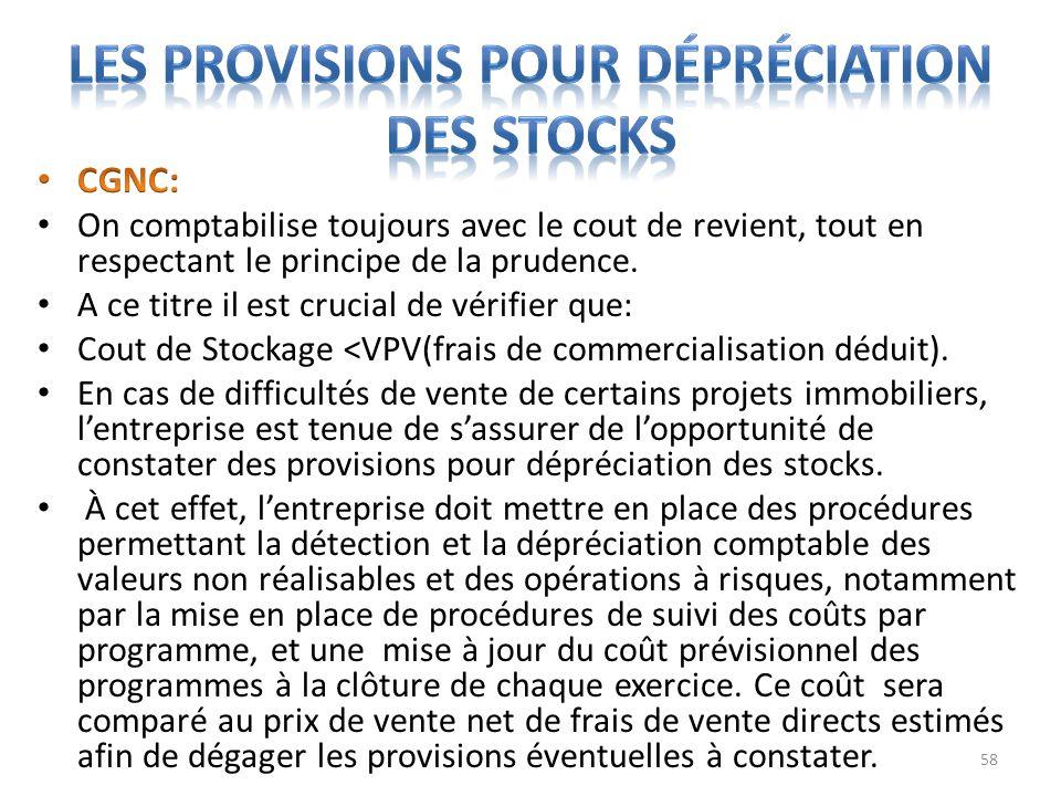 Les provisions pour dépréciation des stocks