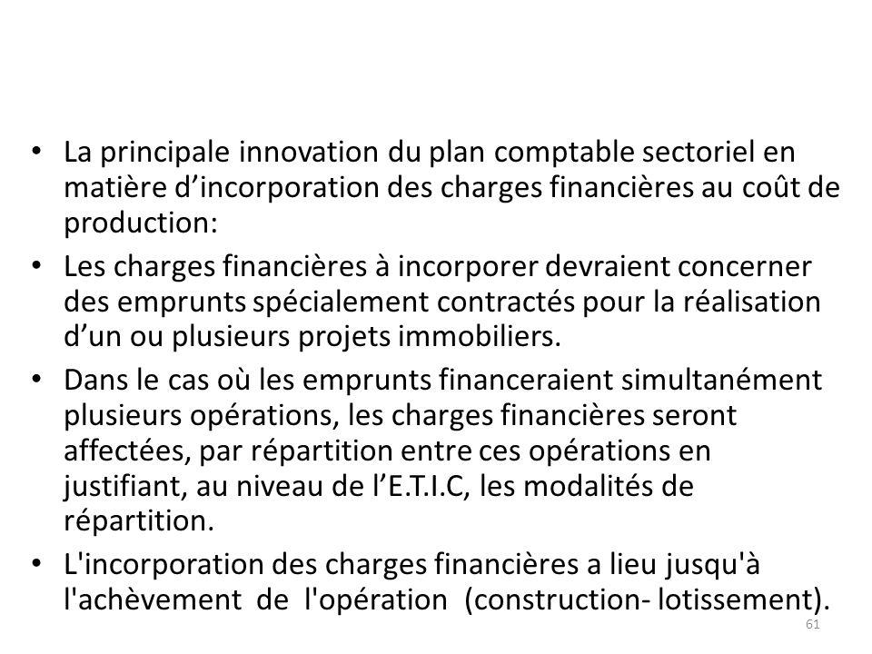 La principale innovation du plan comptable sectoriel en matière d'incorporation des charges financières au coût de production: