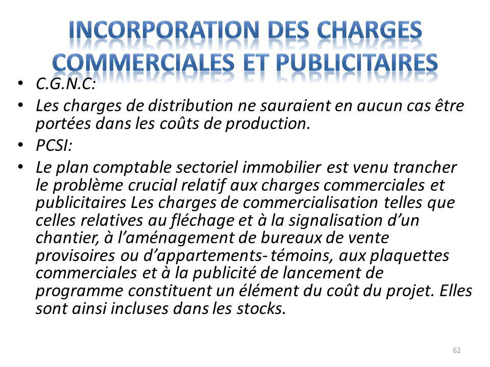 Incorporation des charges commerciales et publicitaires