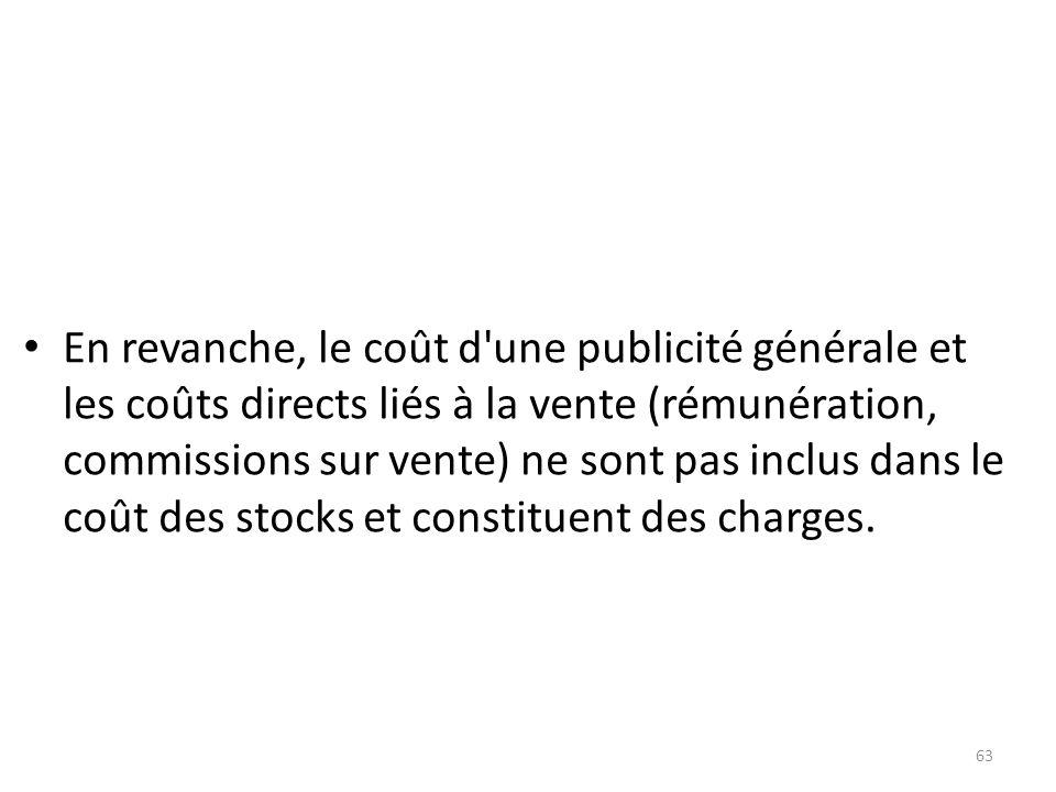 En revanche, le coût d une publicité générale et les coûts directs liés à la vente (rémunération, commissions sur vente) ne sont pas inclus dans le coût des stocks et constituent des charges.
