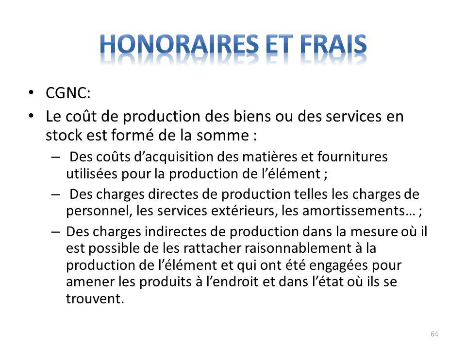 Honoraires et frais CGNC: