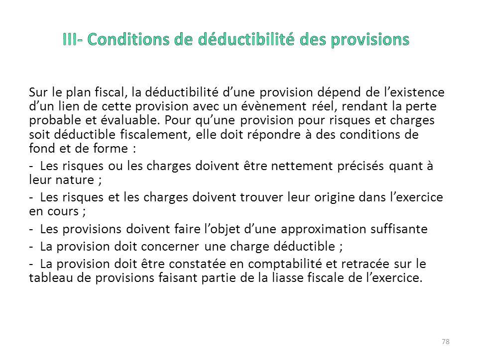 III- Conditions de déductibilité des provisions