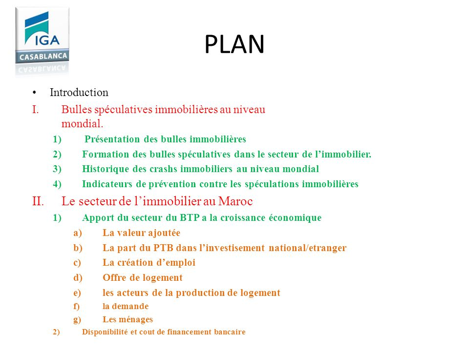 PLAN Le secteur de l'immobilier au Maroc Introduction