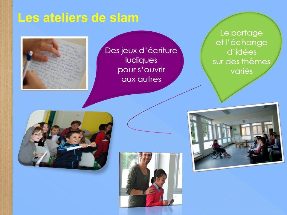 Les ateliers de slam Le partage et l'échange d'idées