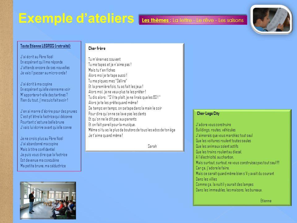 Exemple d'ateliers Les thèmes : La lettre - Le rêve - Les saisons