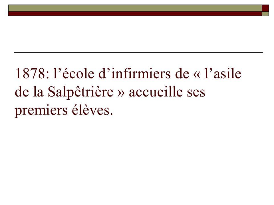 1878: l'école d'infirmiers de « l'asile de la Salpêtrière » accueille ses premiers élèves.