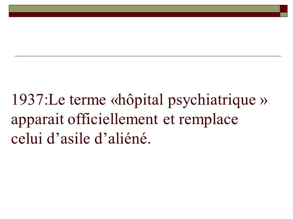 1937:Le terme «hôpital psychiatrique » apparait officiellement et remplace celui d'asile d'aliéné.