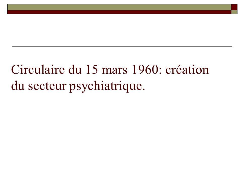 Circulaire du 15 mars 1960: création du secteur psychiatrique.
