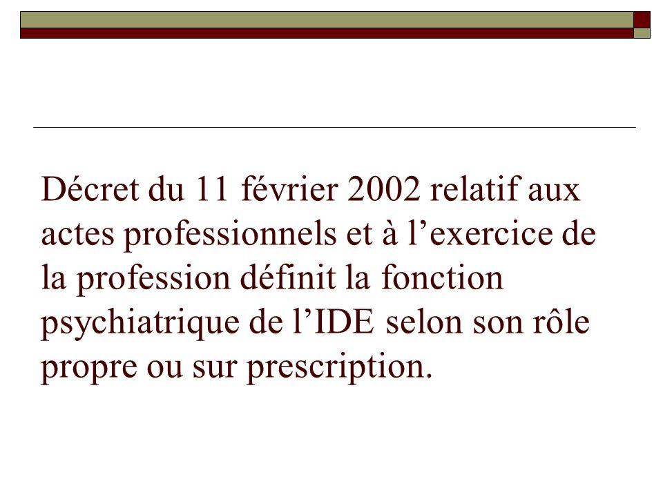 Décret du 11 février 2002 relatif aux actes professionnels et à l'exercice de la profession définit la fonction psychiatrique de l'IDE selon son rôle propre ou sur prescription.