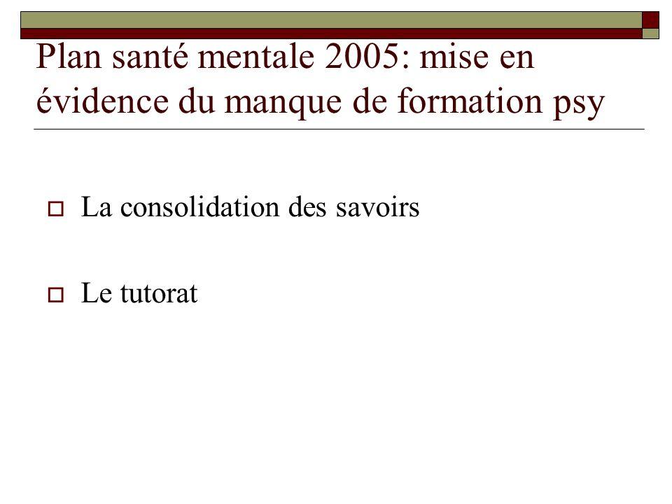 Plan santé mentale 2005: mise en évidence du manque de formation psy
