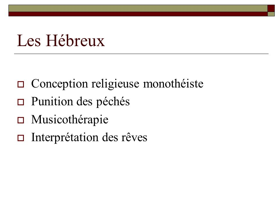 Les Hébreux Conception religieuse monothéiste Punition des péchés