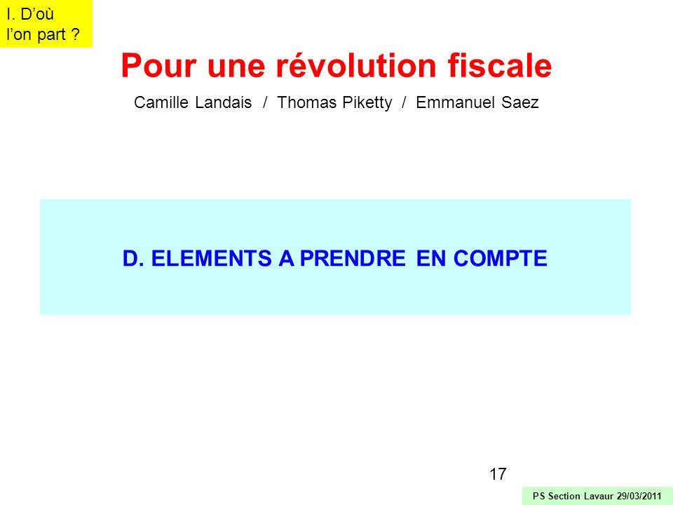 Pour une révolution fiscale D. ELEMENTS A PRENDRE EN COMPTE