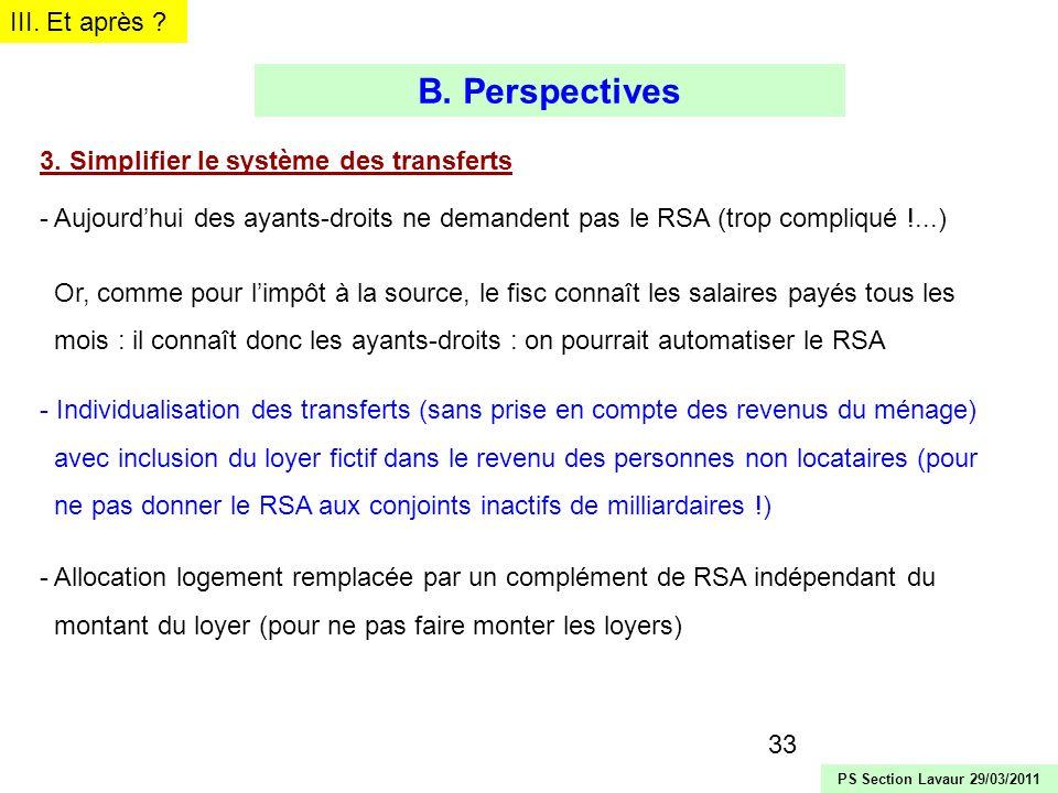 B. Perspectives III. Et après