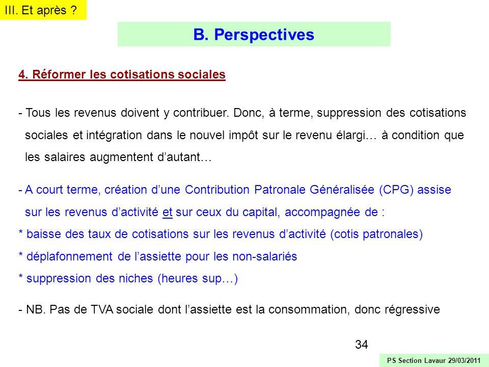 B. Perspectives III. Et après 4. Réformer les cotisations sociales