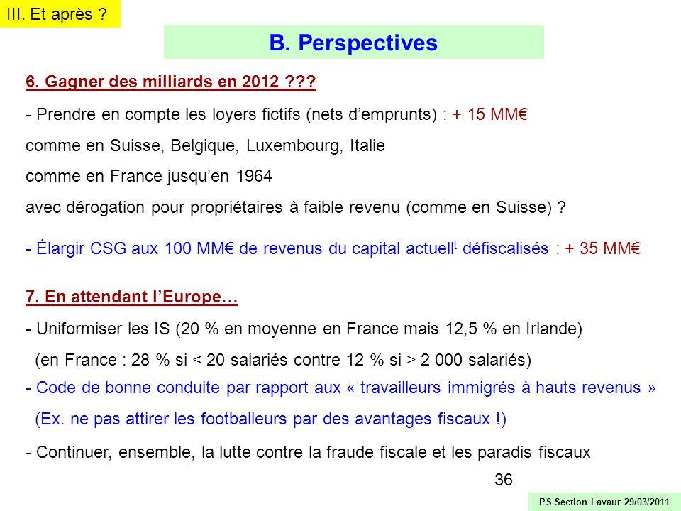 B. Perspectives III. Et après 6. Gagner des milliards en 2012