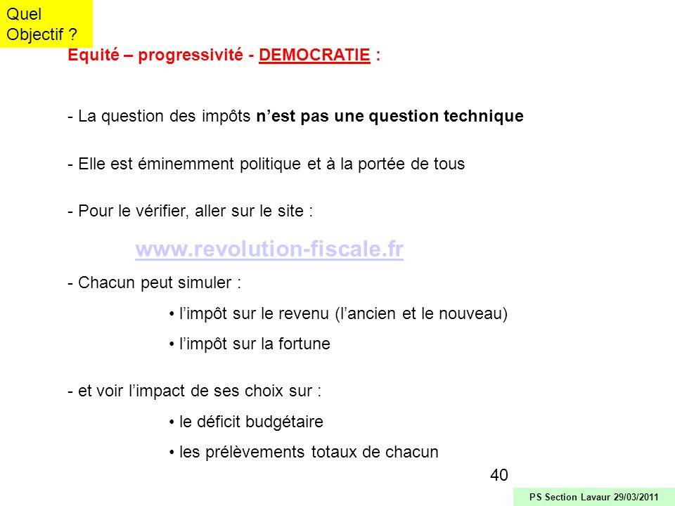 Équité – progressivité - DEMOCRATIE :